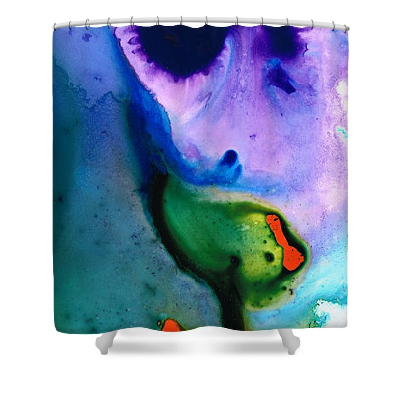 Sharon Cummings Shower Curtain featuring the painting Paradise Found - Colorful Abstract Painting by Sharon Cummings