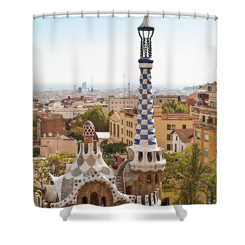 Antoni Gaudí Shower Curtain featuring the photograph Parc Guell By Antoni Gaudi, Barcelona by John Harper