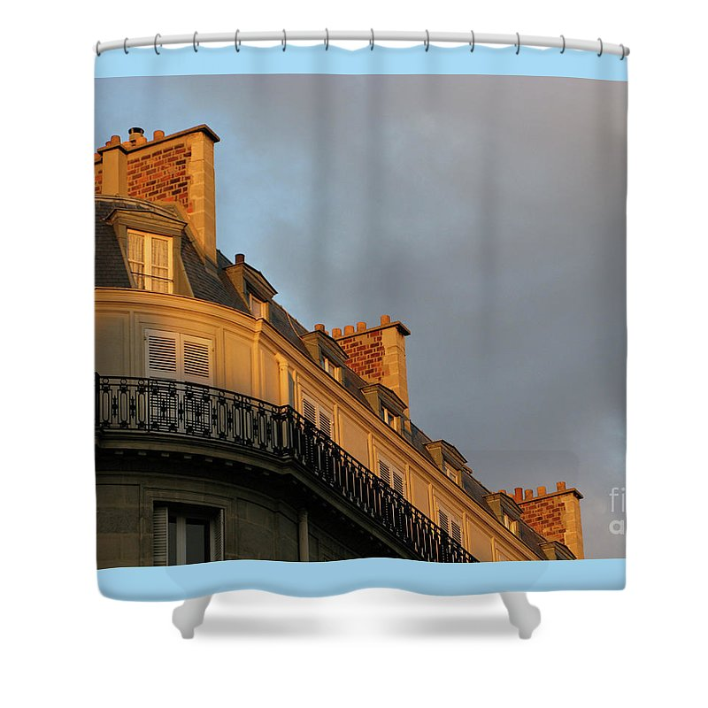 Paris Shower Curtain featuring the photograph Paris At Sunset by Ann Horn