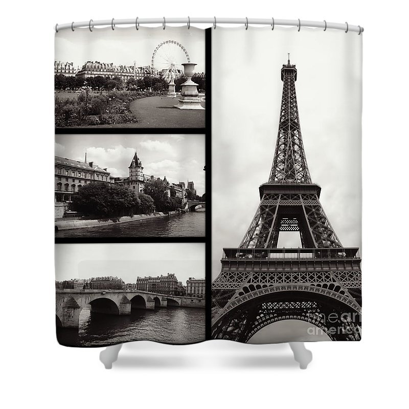 Paris Shower Curtain featuring the photograph Paris Collage - Black and White by Carol Groenen