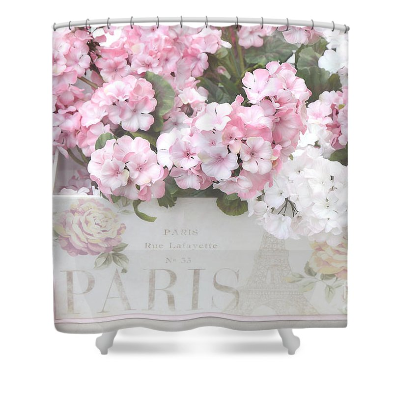 Shabby Chic Shower Curtain featuring the photograph Shabby Chic Paris Pink Flowers, Parisian Shabby Chic Paris Flower Box - Paris Floral Decor by Kathy Fornal