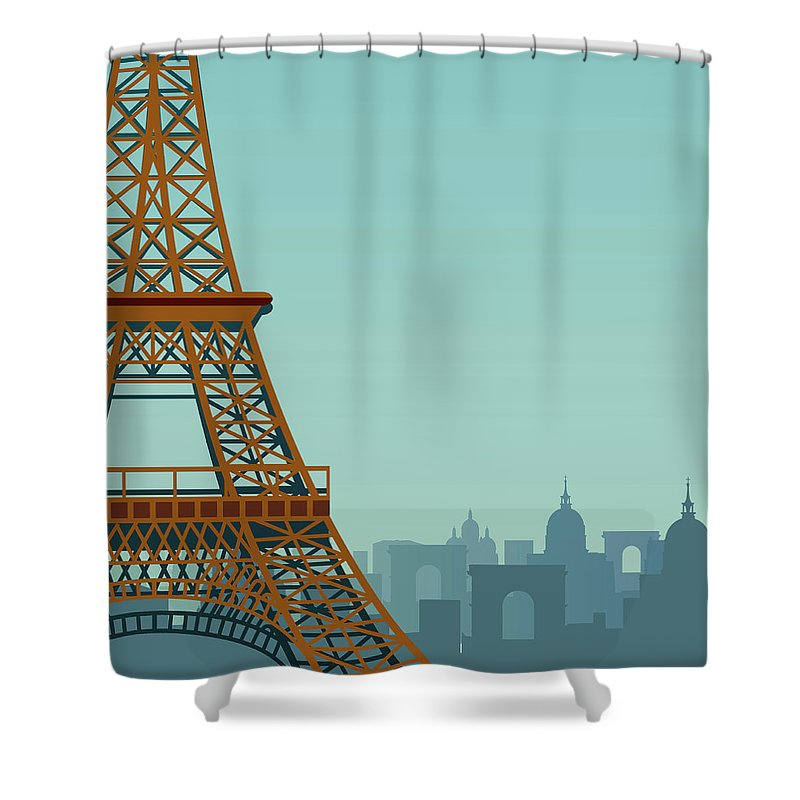 Built Structure Shower Curtain featuring the digital art Paris by Drmakkoy