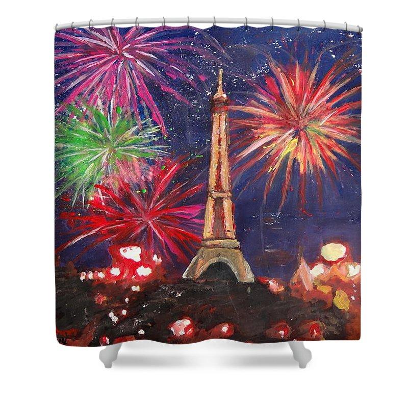 Fireworks at the Eiffel Tower Art Weekender Bag