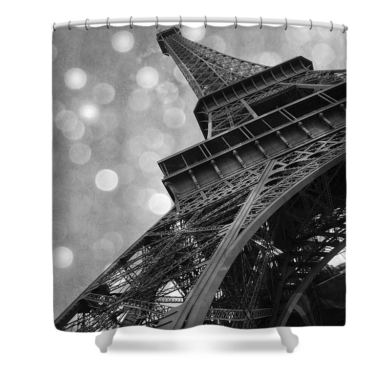 Eiffel Tower Shower Curtain Featuring The Photograph Paris Surreal Black And White Photography