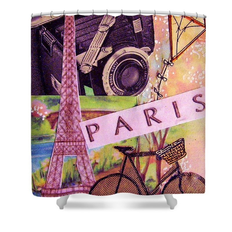 Paris Shower Curtain featuring the drawing Paris by Eloise Schneider Mote