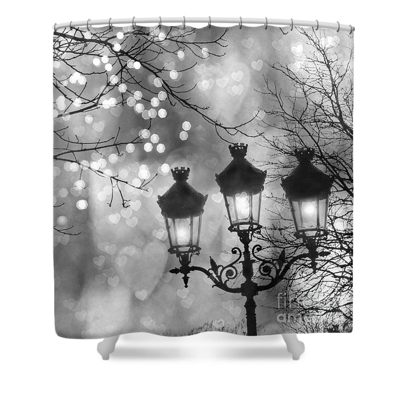 Paris Shower Curtain Featuring The Photograph Christmas Sparkle Lights Street Lanterns