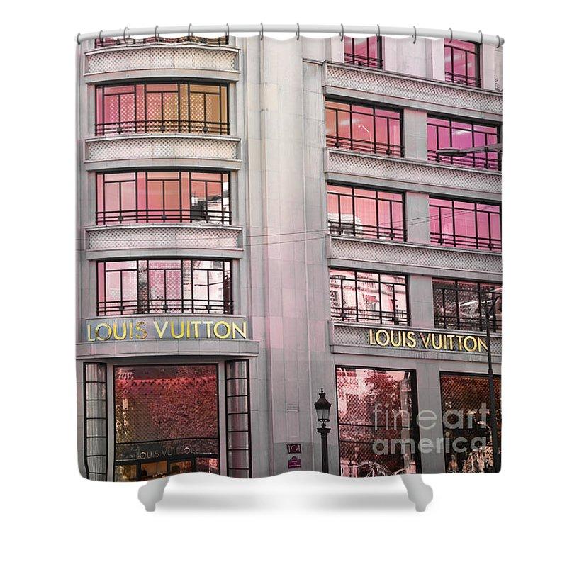 Paris Shower Curtain featuring the photograph Paris Louis Vuitton Boutique Fashion Shop On The Champs Elysees by Kathy Fornal
