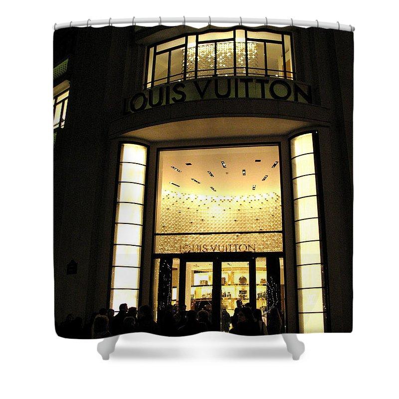 Paris Shower Curtain Featuring The Photograph Louis Vuitton Boutique Store Front