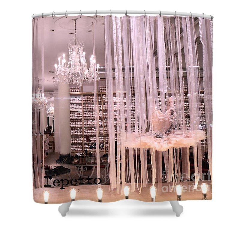 Paris Shower Curtain featuring the photograph Paris Repetto Ballerina Tutu Shop - Paris Ballerina Dresses Window Display by Kathy Fornal