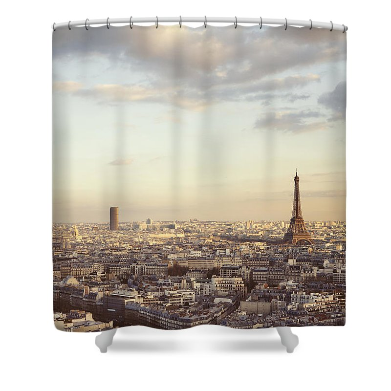 Paris Shower Curtain Featuring The Photograph Skyline At Sunrise By Irene Suchocki