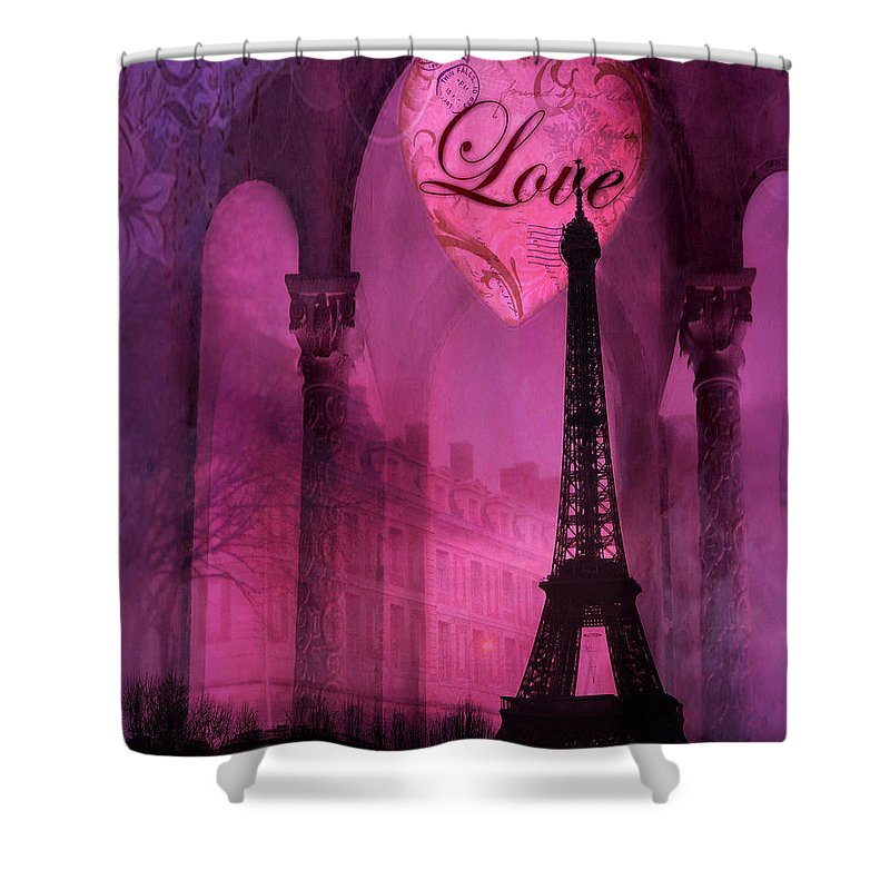 Paris Romantic Pink Fantasy Love Heart Paris Eiffel Tower Valentine Love Heart Print Home Decor Shower Curtain