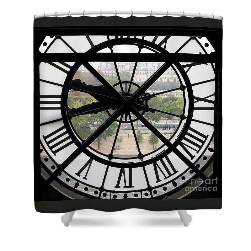 Clock Shower Curtain featuring the photograph Paris Time by Ann Horn