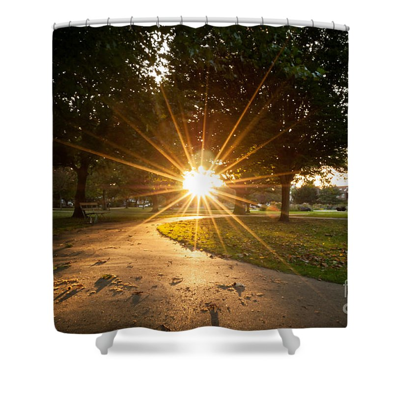 Wimbledon Shower Curtain featuring the photograph Park Sunburst Landscape by Matt Malloy