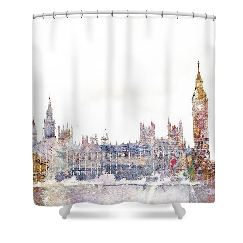 London Shower Curtain Featuring The Digital Art Parliament Color Splash By MGL Meiklejohn Graphics Licensing