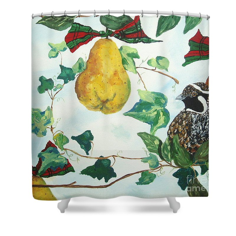 Tree Shower Curtain featuring the painting Partridge And Pears by Reina Resto