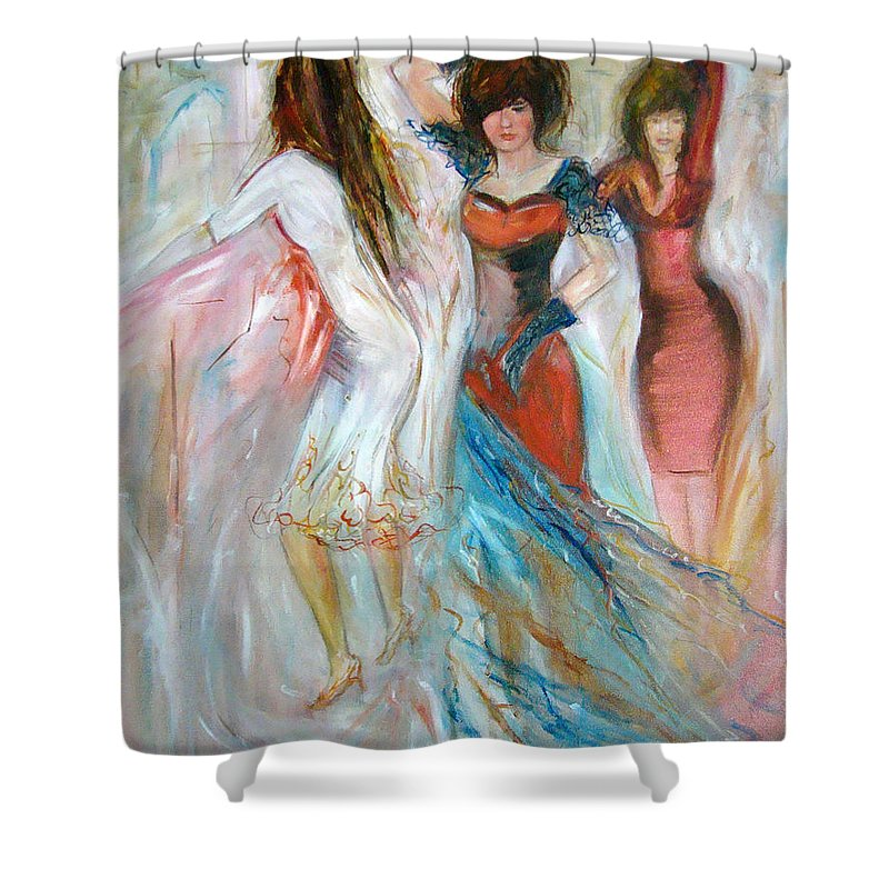 Contemporary Art Shower Curtain featuring the painting Party Time by Silvana Abel
