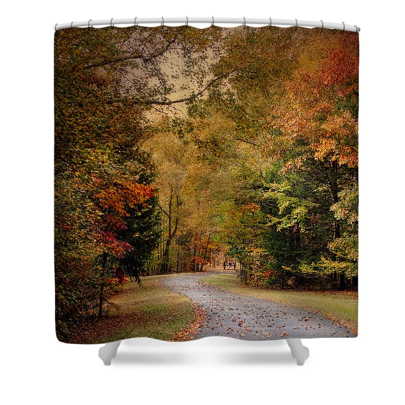 Autumn Home Decor Shower Curtain featuring the photograph Passage Of Time - Autumn Landscape by Jai Johnson