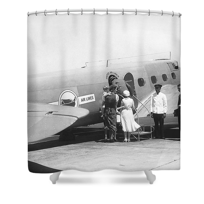 1035-190 Shower Curtain featuring the photograph Passengers Boarding Airplane by Underwood Archives