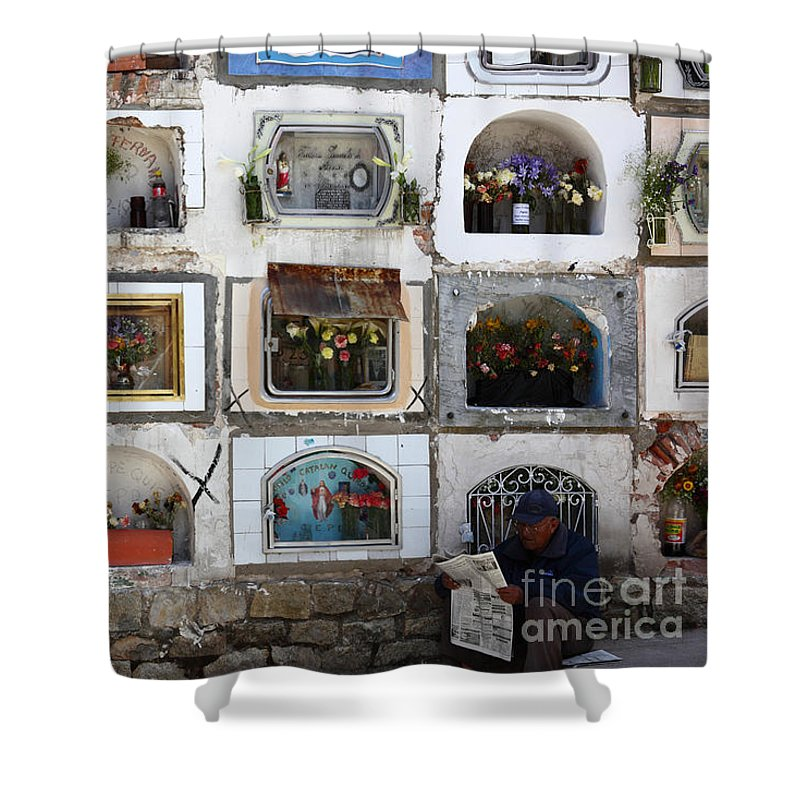 Cemetery Shower Curtain featuring the photograph Passing The Time..... by James Brunker