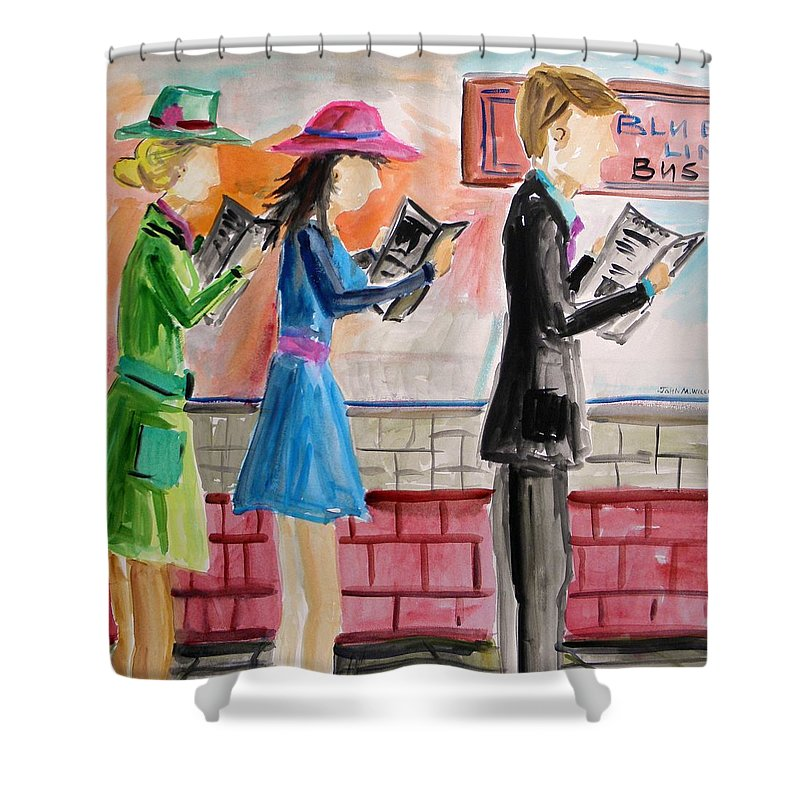 Folks Shower Curtain featuring the painting Passing The Time by John Williams