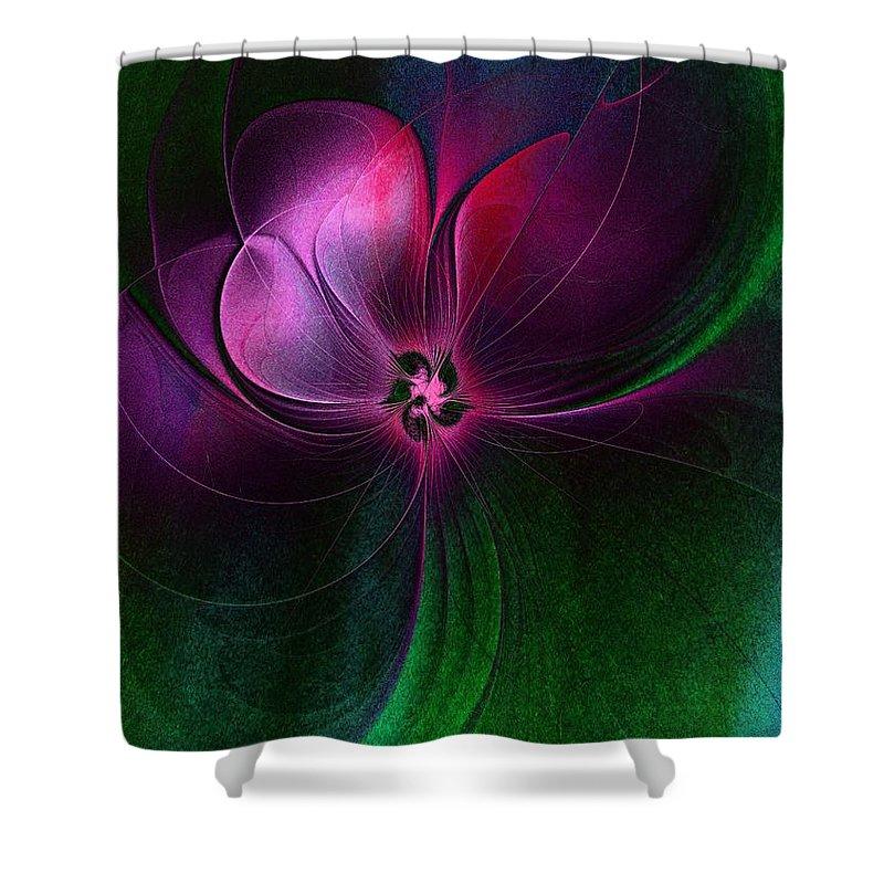 Digital Art Shower Curtain featuring the digital art Passion Flower by Amanda Moore