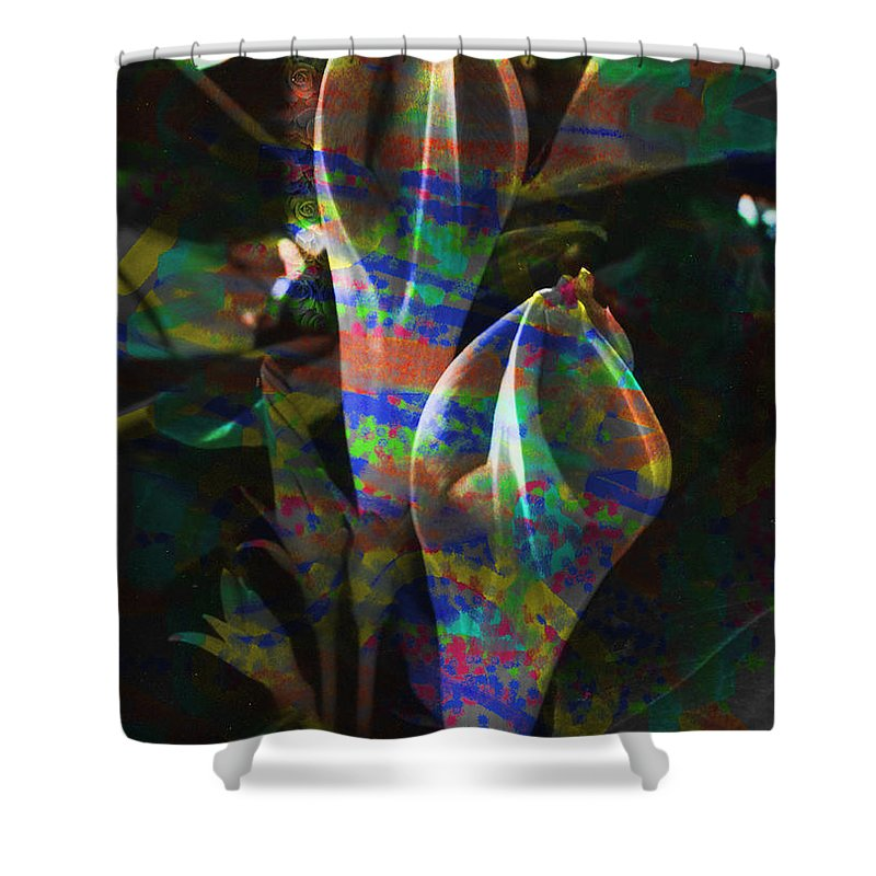 Flower Image Shower Curtain featuring the digital art Passion Flowers by Yael VanGruber