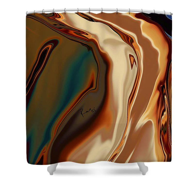 Abstract Shower Curtain featuring the digital art Passionate Kiss by Rabi Khan