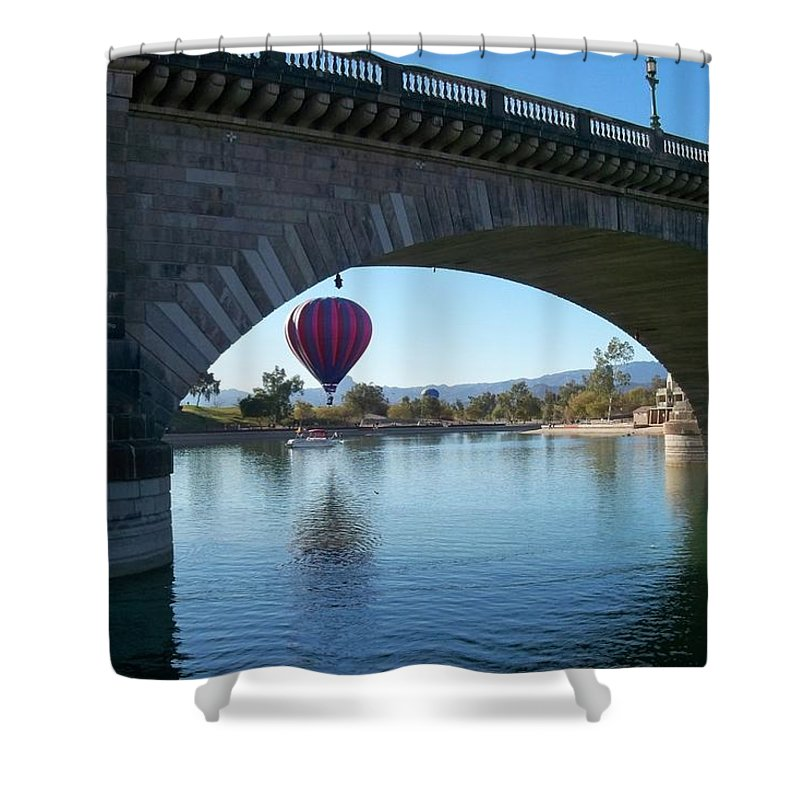 Hot Air Balloon Shower Curtain featuring the photograph Past And Present Meet by Adrienne Wilson
