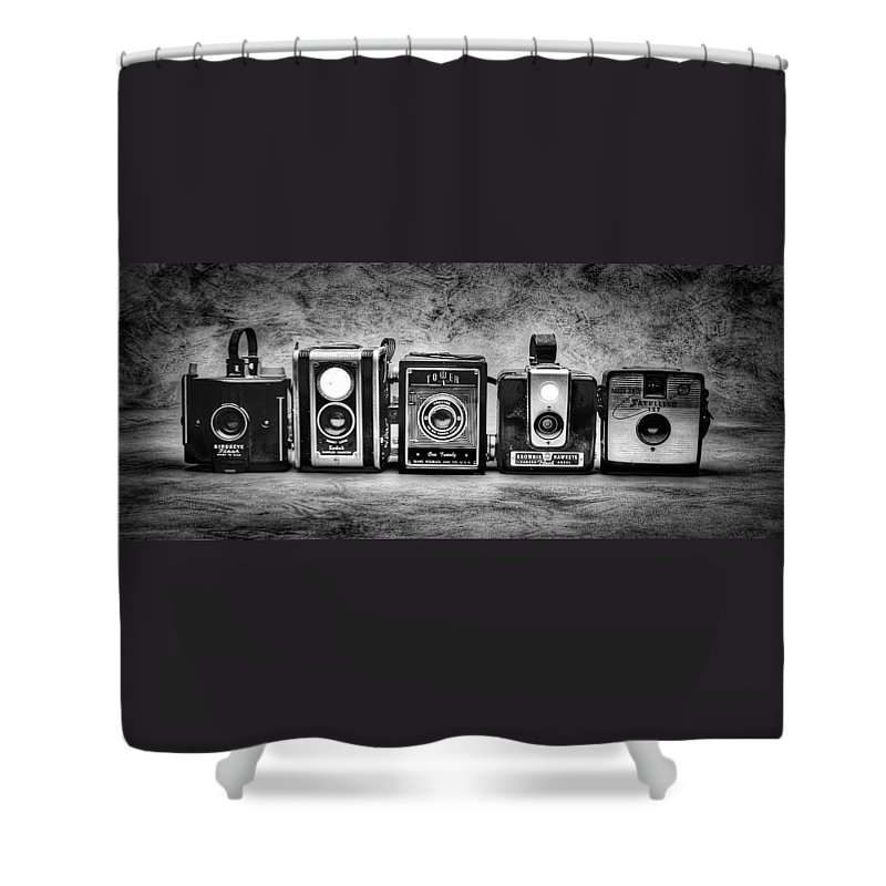 Cameras Shower Curtain featuring the photograph Past Cameras by Timothy Bischoff