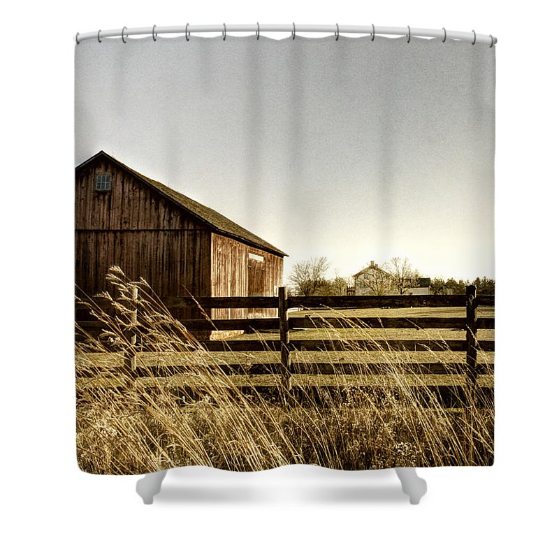 Old; Farm; Barn; Rural; Landscape; Outside; Outdoors; Roof; Country; Countryside; Fence; Barrier; Barricade; Field; Red; Painted; Wood; Door; Wooden; Weeds; Grasses; House; Home; Distance; Sky Shower Curtain featuring the photograph Pasture by Margie Hurwich