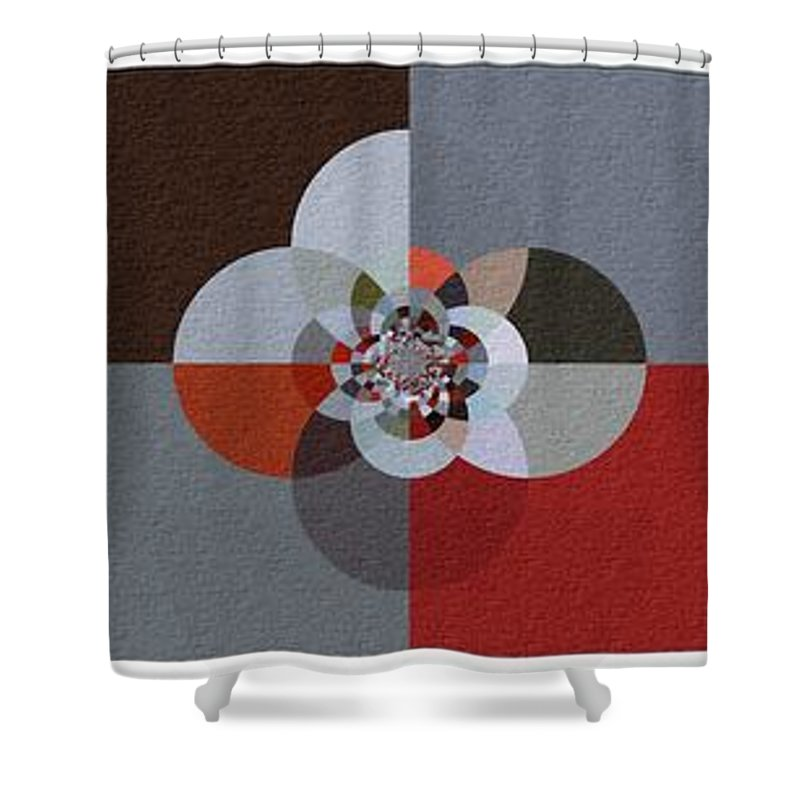 Patchwork Craze Shower Curtain featuring the digital art Patchwork Craze - Abstract - Triptych by Barbara Griffin