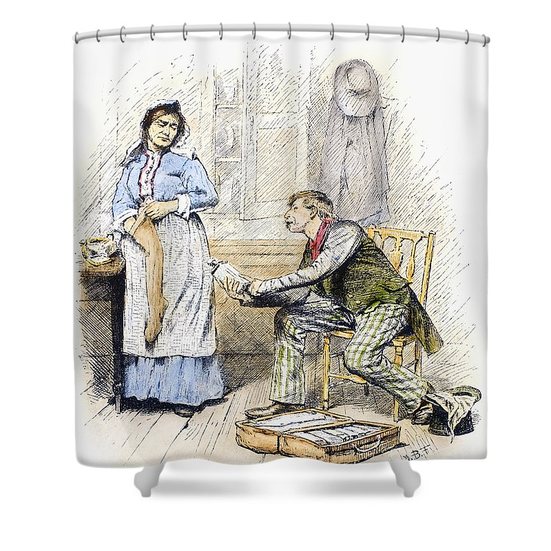 19th Century Shower Curtain featuring the photograph Patent Medicine Salesman by Granger