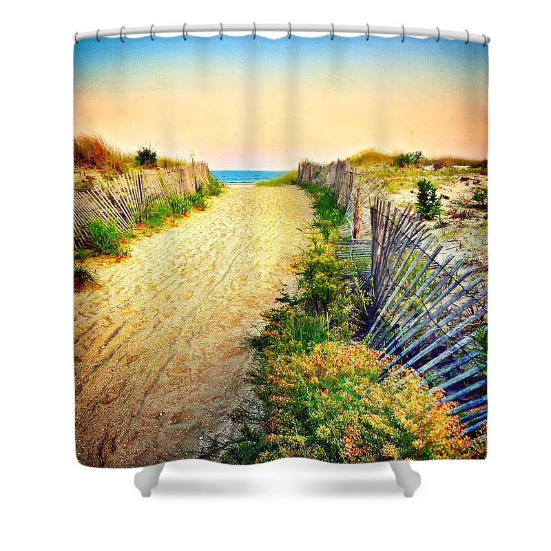 Path To The Beach Shower Curtain featuring the photograph Path To The Beach by Carolyn Derstine