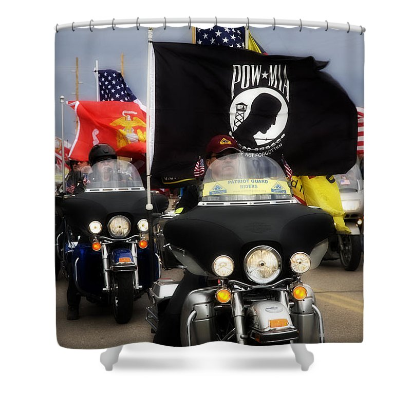 Patriot Gaurd Shower Curtain featuring the photograph Patriot Riders by Hugh Smith