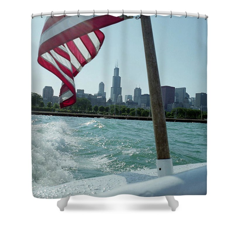 Chicago Shower Curtain featuring the photograph Patriotic Skyline by IMH Photog