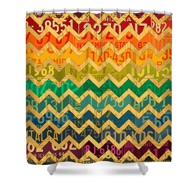 Patterns Shower Curtain Featuring The Mixed Media In Road