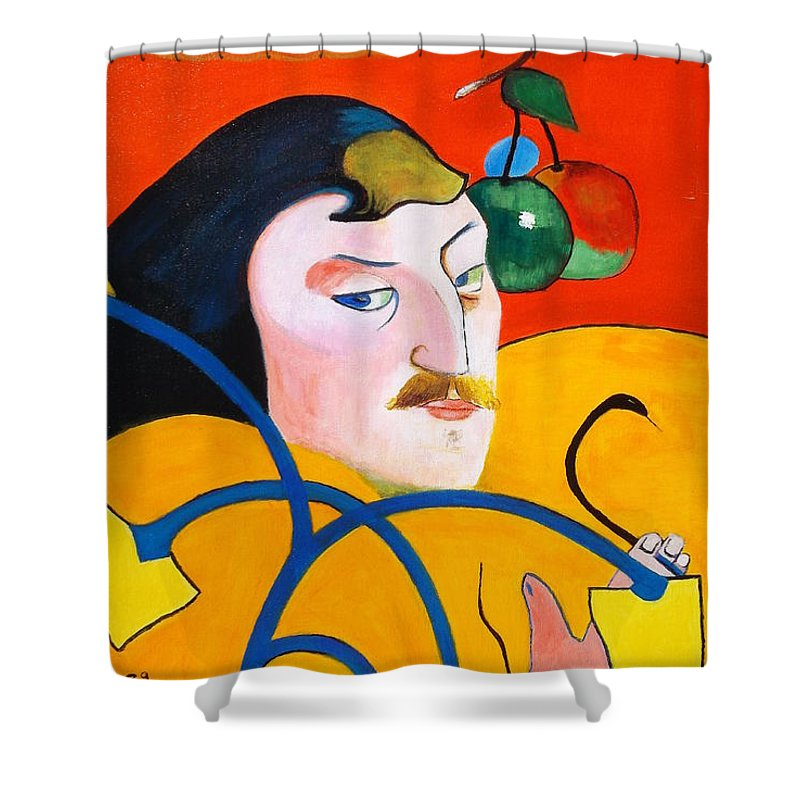Paul Gauguin Self Portrait With Halo Shower Curtain Featuring The Painting