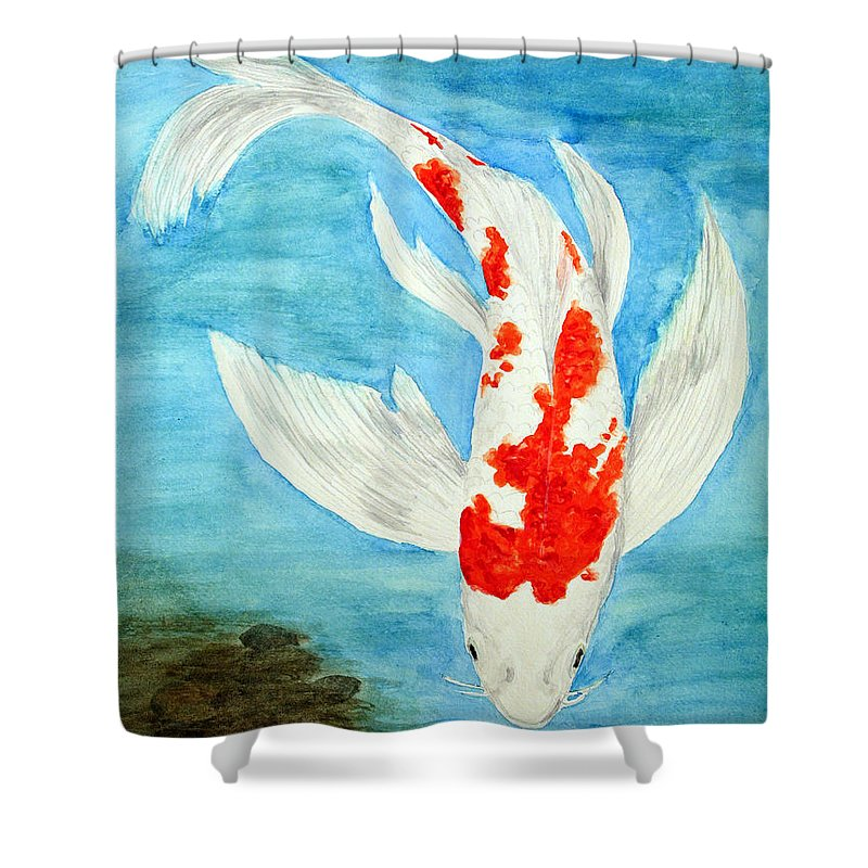Koi Shower Curtain featuring the painting Paul's Koi by Marna Edwards Flavell