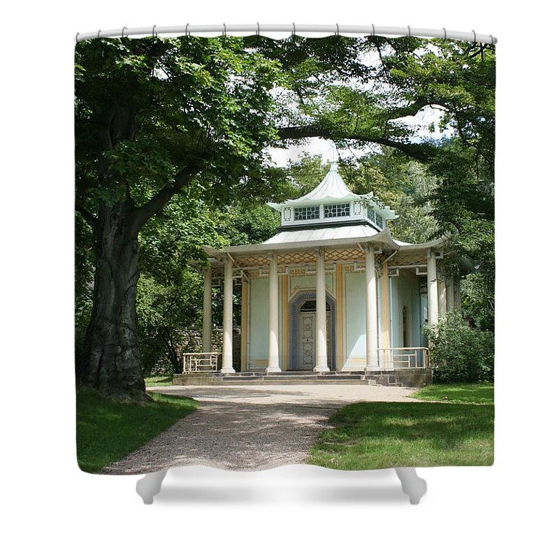 Pavilion Shower Curtain featuring the photograph Pavilion Park Pillnitz - Germany by Christiane Schulze Art And Photography