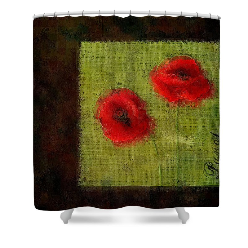 Poppies Shower Curtain featuring the digital art Pavot - 027023173-bl01 by Variance Collections
