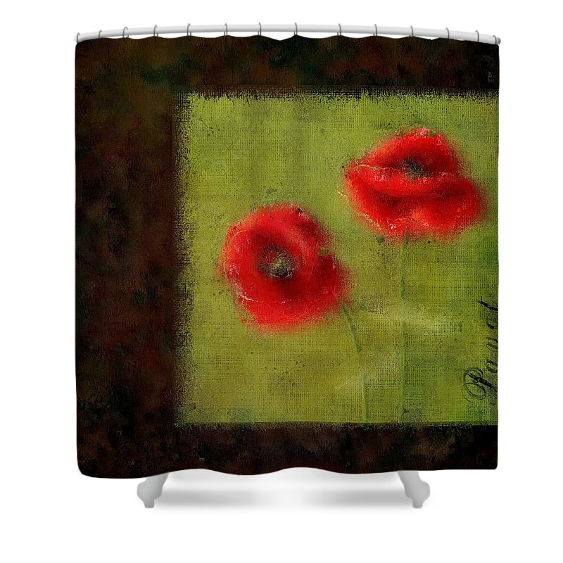 Poppies Shower Curtain featuring the digital art Pavot - 027023222-bl02 by Variance Collections