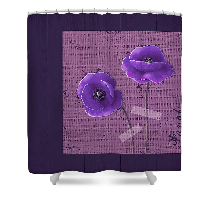 Poppies Shower Curtain featuring the digital art Pavot - S02c09b by Variance Collections