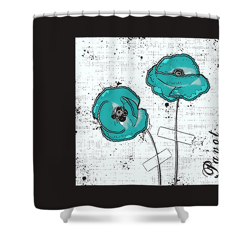 Now Shower Curtain featuring the digital art Pavot - S05-02a by Variance Collections