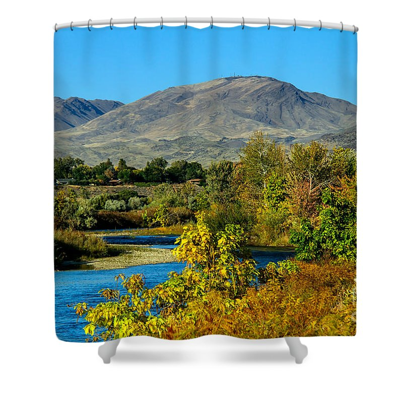 Emmett Shower Curtain featuring the photograph Payette River And Squaw Butte by Robert Bales