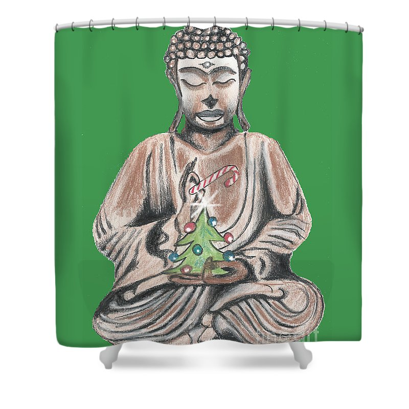 Buddha Shower Curtain featuring the drawing Peace And Goodwill One by Kevin J Cooper Artwork