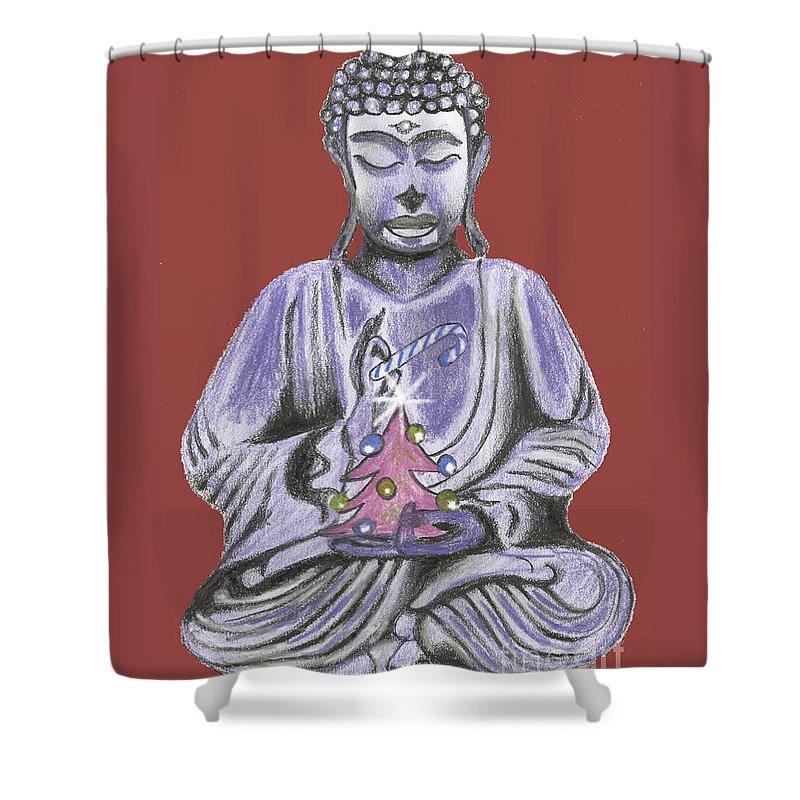 Buddhist Christmas Shower Curtain featuring the drawing Peace And Goodwill Two by Kevin J Cooper Artwork