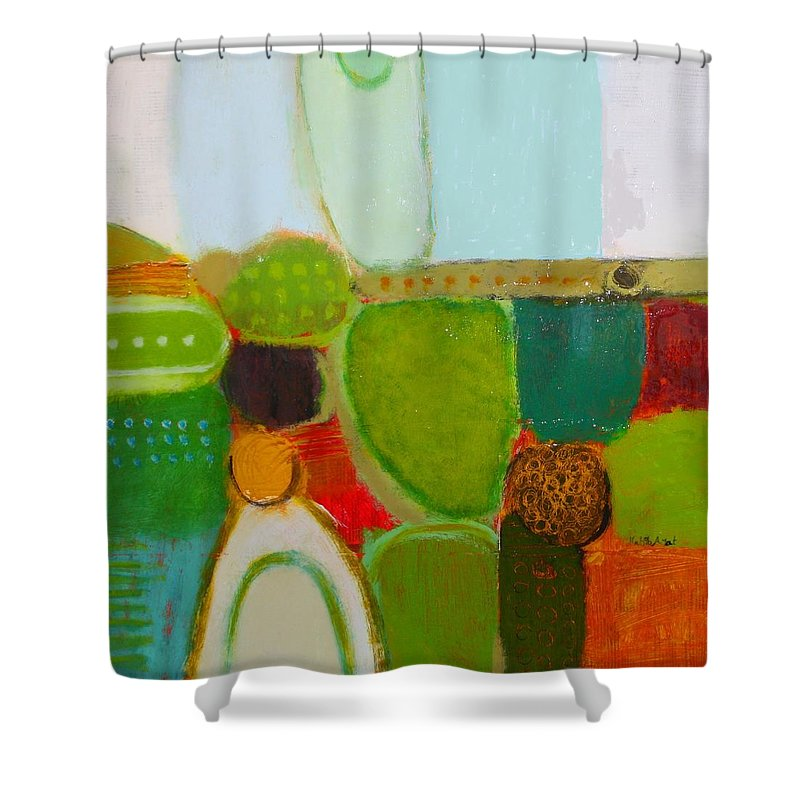 Abstract Shower Curtain featuring the painting Peace And Joy 4 by Habib Ayat