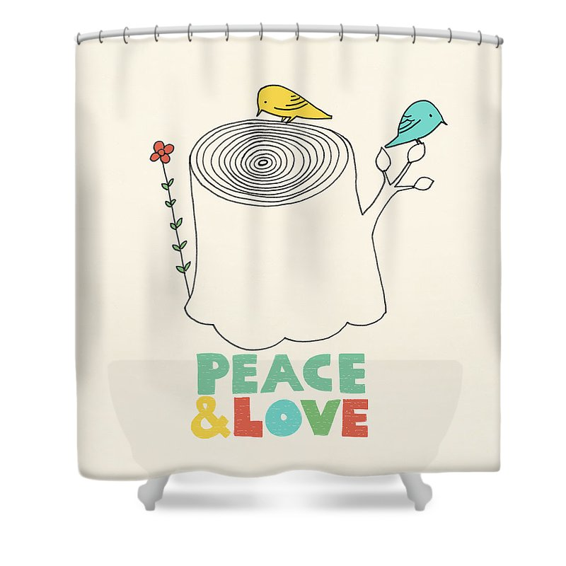 Birds Shower Curtain featuring the drawing Peace and Love by Eric Fan