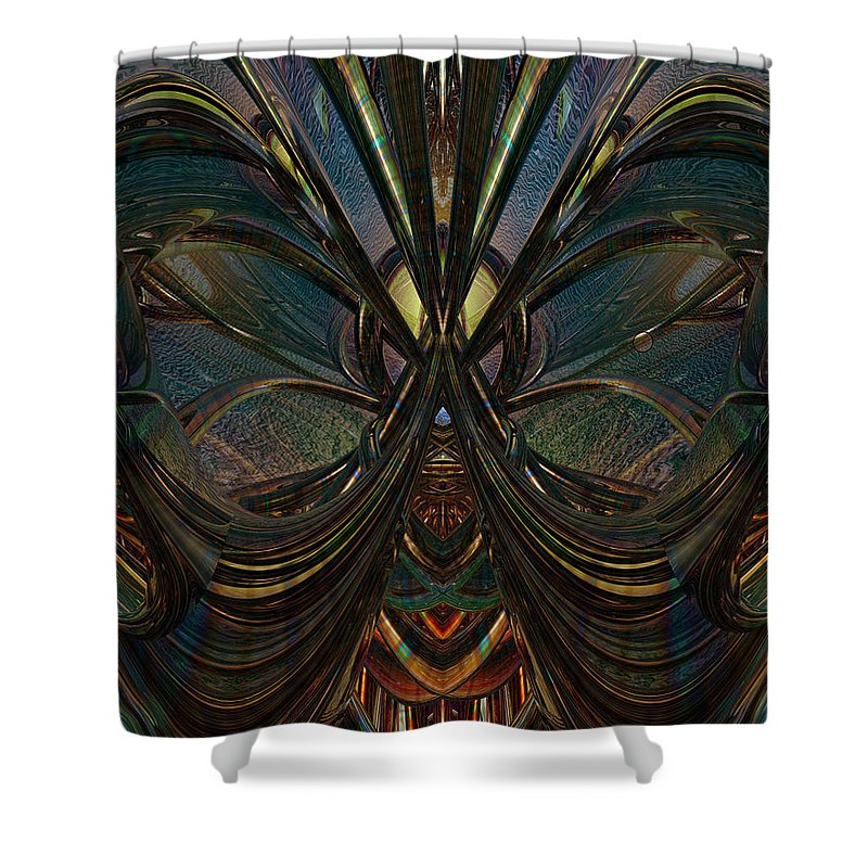 Metallic Shower Curtain featuring the digital art Peace Butterfly Fx by G Adam Orosco