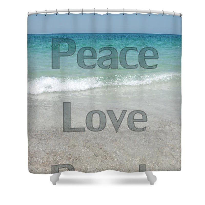 Water Shower Curtain featuring the photograph Peace Love Beach by May Photography